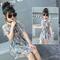 D-baby Fashion, Temperament, Girl Chiffon Printed Dresses, Chiffon Open Shoulder Dresses 1 160(140cm)
