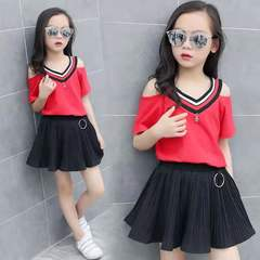 D-baby Kid Girl Outfits Clothes T-shirt Tops+Skirt 2PCS Sets girls suit XQ023A 110(100cm)