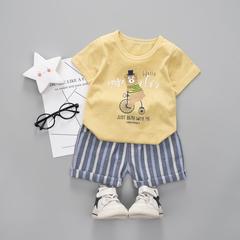 D-baby 2PCS Kids Boys Clothing Set Toddler Outfit T-Shirt+Shorts Summer Clothing Set NZ001E 120(110CM)
