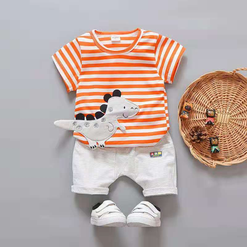 c7f920a671cde D-baby 2PCS Kids Boys Clothing Set Toddler Outfit T-Shirt+Shorts Summer  Clothing Set NZ001A 80(75CM)
