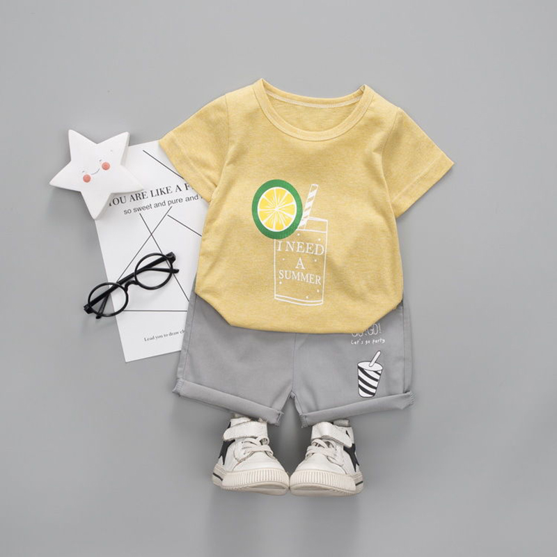 db190d1230ad0 D-baby 2PCS Kids Boys Clothing Set Toddler Outfit T-Shirt+Shorts Summer  Clothing Set NZ001E 120(110CM)