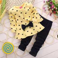 D-baby Hot girls clothes sets T-shirt+ Pants 2pcs/set full sleeve clothing children active suits ZC001A yellow (80cm)
