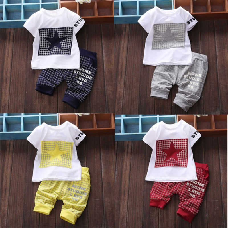 ec3690be73a9b D-baby Infant baby Summer Clothing Sets T-Shirt+Checked Short Kids Boy  Clothes ZC003A royalblue S(0-1Y)
