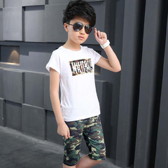 D-baby kid's Suits, boys and girls camouflage suits, T-shirts + skirts or T-shirts + trousers suits B boy 160(130-140cm)