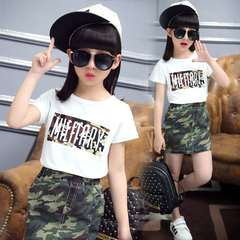 D-baby kid's Suits, boys and girls camouflage suits, T-shirts + skirts or T-shirts + trousers suits A girl 120(100-110cm)