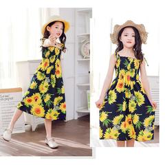 D-baby Cute Baby Girl Dresses, Fashionable Beach Flower Printed Dresses, Summer Girl Dresses A 110(95-115cm)