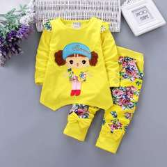 D-baby 2PCS New Fashion Girls Long Sleeve Top + Trousers Flower Printed Suit, Girls Sports Suit a 80(7-13m)