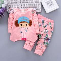 D-baby 2PCS New Fashion Girls Long Sleeve Top + Trousers Flower Printed Suit, Girls Sports Suit c 110(2.5-3.8y)