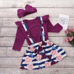D-baby kids Girls 3PCS Suit, Top + Skirt + Headscarf Flower Printing Suit, Fashion Hot Suit TQ002A 80cm