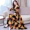 D-baby Women's fashionable flower dress milk silk elastic short sleeve high waist dress NQ001A 3xl (70-75)