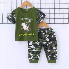 D-baby Kids Baby Boys and Girls camouflage suit, T-shirt + shorts suit,2-piece suit A 80(70-80cm)