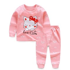D-baby 2PCS Toddler Kids Baby Girls Pure Cotton T-shirt Top Pants Leggings Outfit Set A 50(73cm)