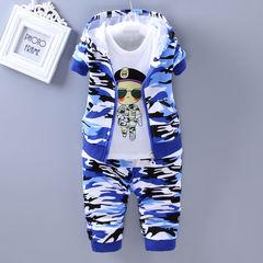 D-baby Kids camouflage Jacket+T Shirt+Pants 3 Pcs Children Sport Suits Boys Clothes Set RZ001A 73(60-67cm)