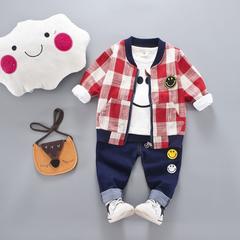 D-baby Kids camouflage Jacket+T Shirt+Pants 3 Pcs Children Sport Suits Boys Clothes Set RZ002B 110(95-105cm)