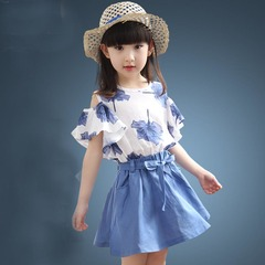 D-baby Toddler Kid Baby Girl Outfits Clothes T-shirt Tops+Skirt 2PCS Sets a 110(100cm)