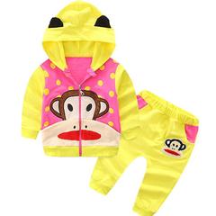 D-baby Kids Hoodied Jacket+Pants 2 Pcs Children Sport Suits Girls Clothes Set a 0-6m