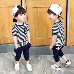 D-baby Baby Boys Clothing Sets Navy Blue Toddler Outfit T-Shirt+Pants Marine Outfits DS001A 100(85-95cm)