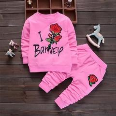 D-baby Fashion Baby Girl Clothing Set Children Cute Suit 2PCS Kids Twinset Top T Shirt +Plaid Pants MM002A 80(67-75cm)