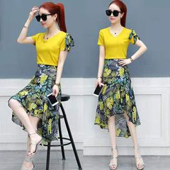 Fashion Women Suit Dresses, Short Sleeve Shirt +Floral Print Skirts, Fashionable Women Sets NQ004A m (40-50kg)