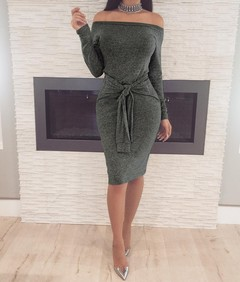 Lady Internet sensation hot style sexy waist band one-word collar dress