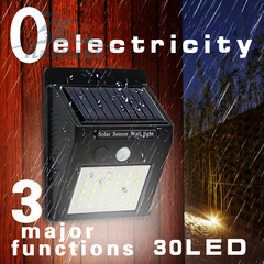 30 LED Solar Powered Wall Light Motion Sensor Outdoor Security Yard Wall Waterproof Lamps black 15*10*5cm 0.6