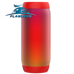 Wireless light bluetooth speaker outdoor cylindrical subwoofer riding card LED colorful audio red 3w model