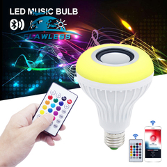Wireless Bluetooth Speaker LED Bulb Smart led lamp Music Player Audio with 24 Keys Remote Control Color 12W model