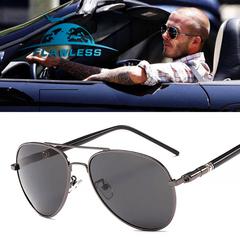Aviation frame quality oversized spring leg alloy men's polarized sunglasses GUN GRAY ONE SIZE