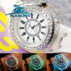 Couples Watch Illuminated lighting Quartz Watch Mens Ladies casual Fashion Sport Clock white