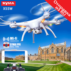 SYMA X5SW X5SW-1 UAV WIFI FPV HD Camera RC Drone Real-time Transmit Quadcopter Helicopter Aircraft White with 1 x battery