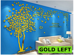 Acrylic Mirror Decals Large Tree 3D Wall Sticker DIY Art TV Background Wall Bedroom Living Room GOLD LEFT S about 2x1m