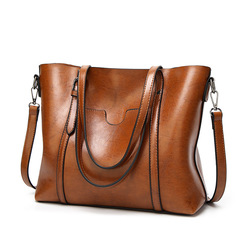 2019 High Quality Oil Wax PU Leather Large Capacity Tote Bag Women Female Handbags Shoulder Bags BROWN 32*12*29cm