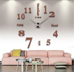 Large 3D DIY Mirror Clock Wall Sticker Silent Quartz watch  Number Clock Office Living Room Decor Brown Large
