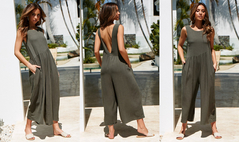 Women Sleeveless Vest Sexy Halter Jumpsuit Chiffon Wide Leg Trousers Romper Ladies Coverall Playsuit Green XL