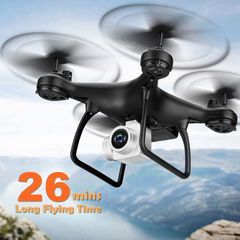 TXD-8S UAV 2MP HD Camera FPV WiFi RC Drone 26mins Long FlyTime Quadcopter Altitude Hold Helicopter Black NO Camera with 1 x battery