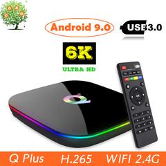 Q Plus Android 9.0 Smart TV Box Allwinner H6 6K H.265 USB3.0 Set top Box 4G 64G Wifi Media Player Q Plus 4GB RAM + 32GB ROM