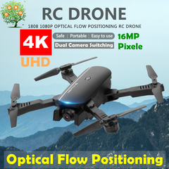 1808 RC Drone 4K UHD Dual Camera Quadcopter Optical Flow WIFI FPV Gesture Photo Helicopter Foldable Black 480P(0.3MP) Single camera With 1 x Battery