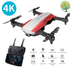 LANSENXI-NVO 4K 1080P HD Wide Angle camera RC Drone WiFi FPV Gesture Quadcopter Helicopter Toys Dron Red 1080P HD Wide Angle camera