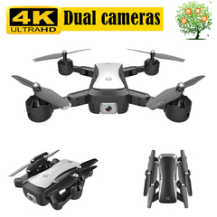 4K Dual Camera RC Drone WIFI FPV Quadcopter Optical flow Helicopt follow Dron 18min Aircraft Toy S36 White with bag 5MP(1080P)