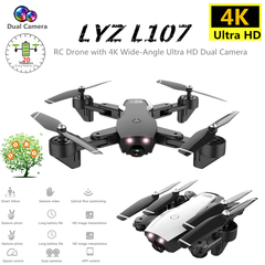 L107 4K HD Dual Camera  WIFI FPV RC Drone optical flow Quadcopter 20min Helicopter Dron Aircraft Toy Black 4K Dual camera