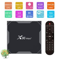X96 MAX Plus Android 9.0 Smart TV Box UHD 8K S905X3 4G 64G Set top Box 2.4G 5G Wifi 4K Media Player 4GB RAM + 64GB ROM X96 max+ (S905X3)