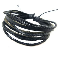 JOEY'S Hot-selling multi-layer cowhide Bracelet hand-woven leisure men's and women's Bracelets BLACK one size
