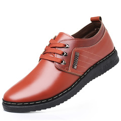 Leather Shoes Men Leather Shoe Men Men's Tie-Up British  Round-Headed Formal Leather Shoes For Men brown 41