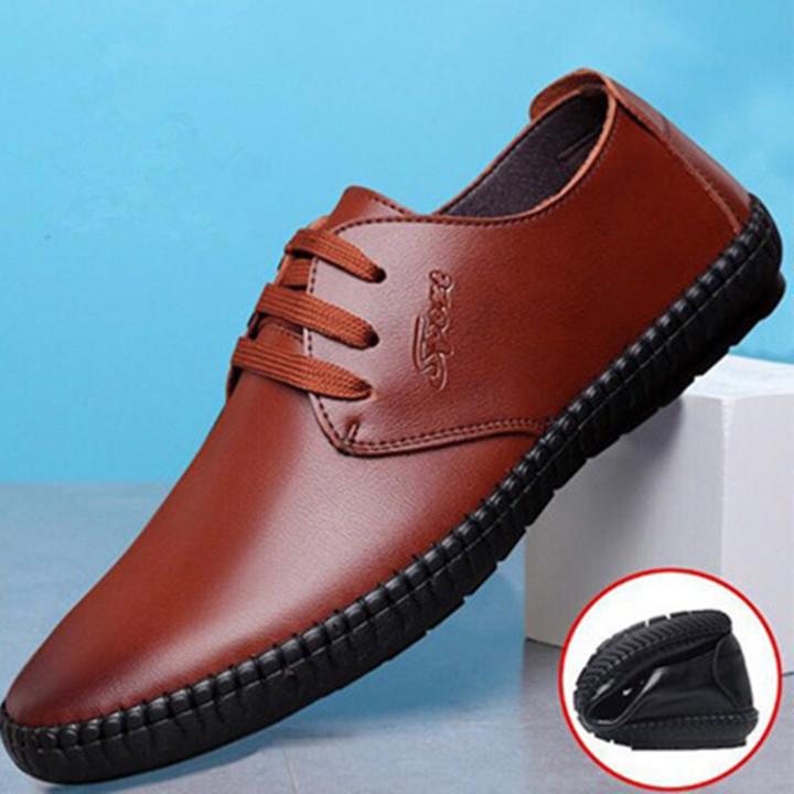 Shoes Men Boots Men Men's Laced British Formal Business Shoes Casual Breathable Soft Sole Shoes Brown 44
