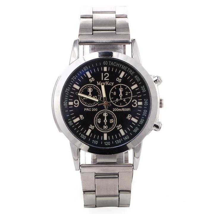 Watches Men Watche Men Men's Watch Men's Leisure Business Steel  Watch Three-Eye Steel Belt Watch black