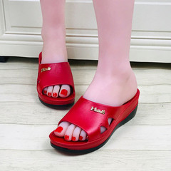 Sandals Women Shoes Women Sandals Ladies'Slippers With Sloping Heels Thick Soles Sandals For Women RED 36