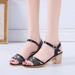 Sandals Women Shoes Ladies Rough-heeled Sandals Ladies Heels Middle-heeled Diamond Sandals black 36