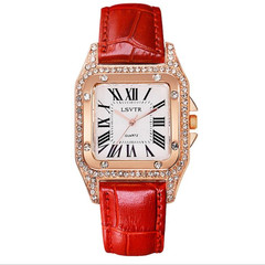 Watches Women Watches Ladies Square Trend Female Watch Water Diamond Watch Student Watch black red