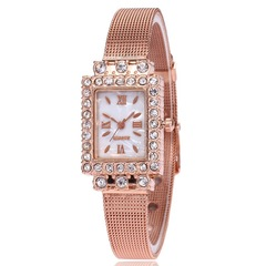 Watches Ladies Watches Women Watch Women Mesh Belt Rectangular Watch Diamond Inlaid Quartz Watch Rose gold