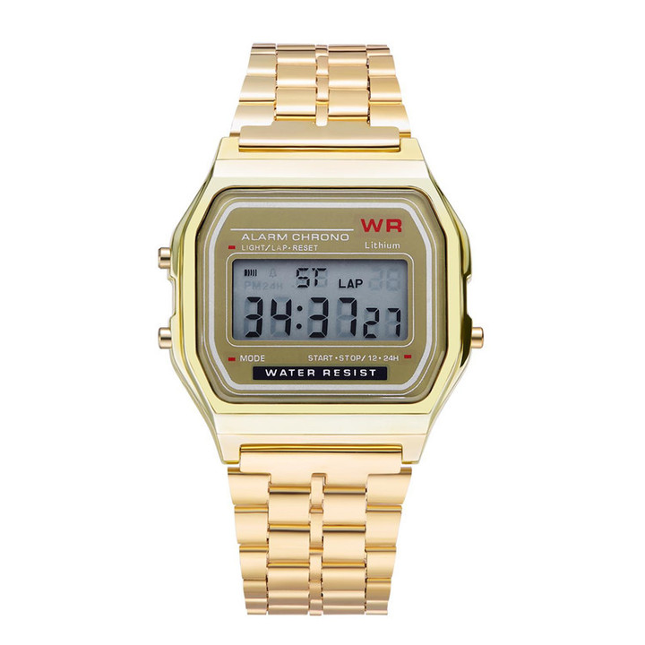 Watches Men Watch Men Fashion Waterproof Electronic Watch with Metal Watchband Watches For Men gold